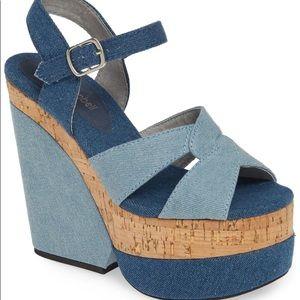 New Jeffrey Campbell Denim Wedge Platform Sandals
